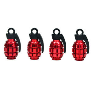 4 Pcs Aluminum Red Bomb Grenade Style Wheel Tyre Tire Valve Stem Cap Cover Car