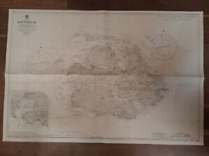 Vintage Admiralty Chart Survey Map West Indies Antigua Nautical