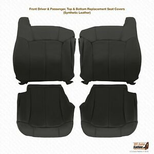 1999 2000 2001 2002 Chevy Silverado Synthetic Leather Seat Covers Dark Graphite