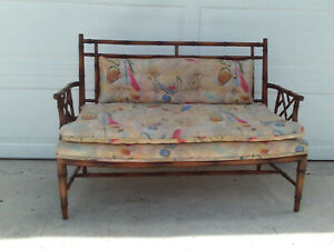 Vintage Chinese Chippendale Faux Bamboo Cane Back Settee Tufted Cushions