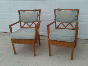 Vintage Pair Of Chinese Chippendale Faux Bamboo Rattan Wrap Arm Chairs Circa 40s