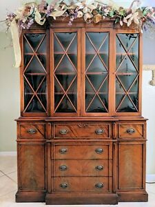 Saginaw Vintage Flame Mahogany Breakfront China Cabinet With Butler S Drop Down