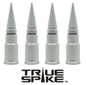 4 True Spike White Spiked Wheel Tire Air Valve Stem Cover Cap For Toyota Tundra