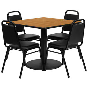 36 Square Natural Laminate Top Restaurant Table Set W 4 Black Banquet Chairs