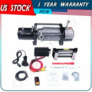 10000lb Off road Recovery Winch 12v Roller Fairlead 80 3 8 Cable For Hummer
