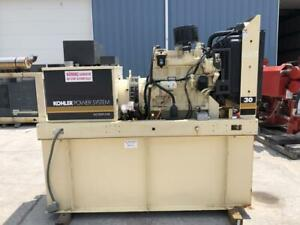 __33 Kw Kohler Generator Set 12 Lead Enclosed 200 Gallon Base Fuel Tank J