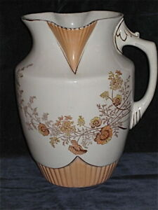 Large Victorian Wash Pitcher Only Cool Form Transfer Print Floral Unmarked