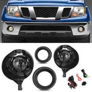For 05 16 Nissan Frontier W metal Chrome Clear Bumper Fog Lights Lamps Kit Lh rh