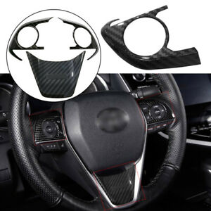 Abs Carbon Fiber Steering Wheel Button Frame Cover For Toyota Camry 2018 2019