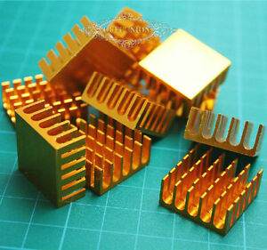 100pcs X 22 22 10mm Golden Aluminum Heat Sink Chip For Led Ic Power Transistor