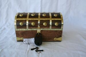 Pirate Treasure Chest 11x7x6 Brass Decorative Keepsake Jewelry Box W Lock