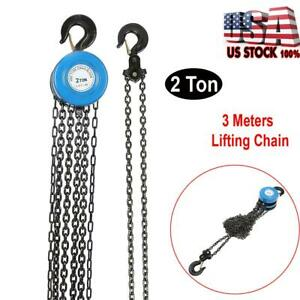 2 Ton Chain Puller Block Fall Chain Lift Hoist Hand Tools Chain With 1 Hook Usa