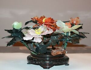 Vintage Antique Chinese Jade Bonsai Tree Flower 840
