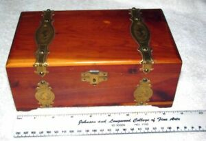 Vintage Wooden Wood Cedar Chest Trinket Jewelry Treasure Box