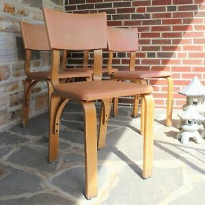 Set Of 4 Mid Century Thonet Bent Wood Chairs