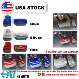 Aluminum Non Slip Automatic Foot Pedals Pads Cover Set For Car Brake Accelerator