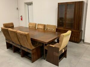 Vintage Lane Brutalist Dining Room Set Table 8 Chairs Hutch Cubist Paul Evans