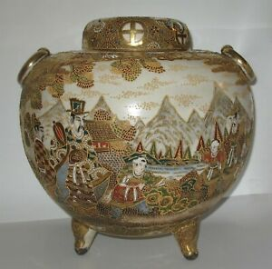 Beautiful Large Antique Kyoto Satsuma Meiji Mid 19th Century Koro Incense Burner