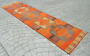 Faded Hand Knotted Turkish Oushak Orange Runner Rug Distressed Rug 3 X 11 9