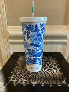 NWT Pioneer Woman White Blue Insulated Tumbler Steel Cooler Travel Cup Mug STRAW $25.99