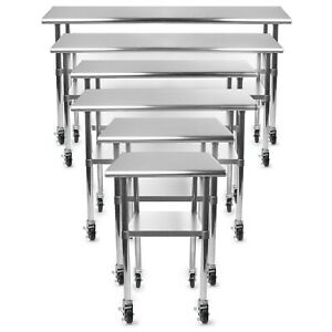 Gridmann Nsf Stainless Steel Commercial Kitchen Prep Work Table W 4 Caster