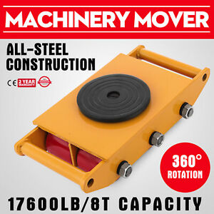 17600lbs Machinery Mover 8t Orange 360 Rotation Machine Dolly