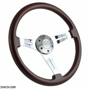 15 Chrome Steering Wheel With Dark Wood Grip And Retro Gmc Horn Button 6 Hole