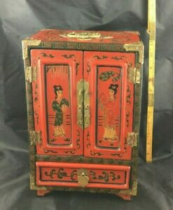 Large Red Chinese Painted Lacquer 12 H X 8 W Jewelry Box Chest 5 Drawers