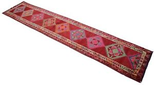 3x14 Kurdish Runner Rug Hand Knotted Extra Long Tribal Runner Actual 34x172 Inch