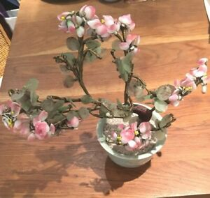 Vintage Chinese Jade Cherry Blossom Tree