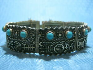 Vintage Chinese Export Silver Gilt Gold Filigree Turquoise Bracelet Marked