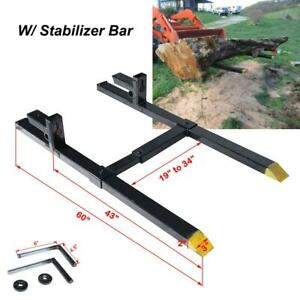 60 2000lbs Stabilizer Bar Pallet Forks Clamp On Loader Bucket Skidsteer Tractor