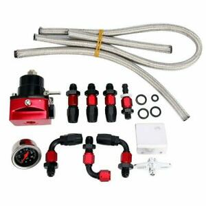 Adjustable Fuel Pressure Regulator Kit Fpr W An6 Hose Fittings 100psi Gauge