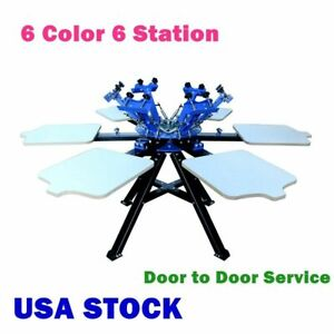 Us 6 Color 6 Station Silk Screen Printing Double Rotary T shirt Press Printer