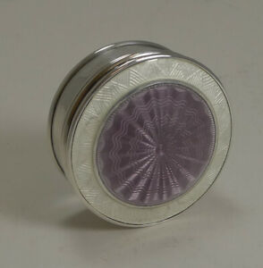 Antique English Sterling Silver And Guilloche Enamel Pill Box 1911