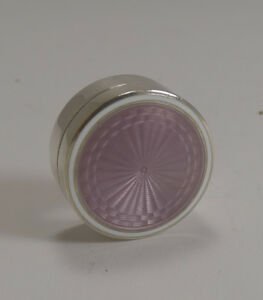Antique Sterling Silver And Lilac Guilloche Enamel Pill Box