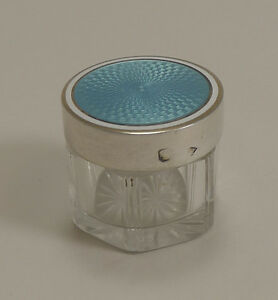 Small Vintage Austrian Silver And Guilloche Enamel Topped Vanity Jar