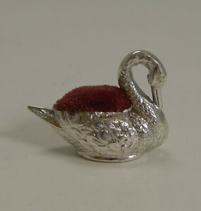 Tiny Antique English Sterling Silver Swan Pin Cushion 1908