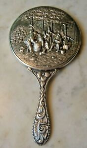 Vintage Country Scene Hand Held Mirror Repousse Relief Silver Tone Denmark