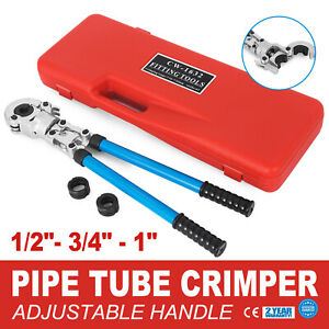 Pex Crimper Kit Copper Pipe Ring Crimping Plumbing Tool 1 2 3 4 1 Dies