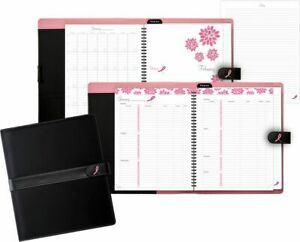Microfiber Pink Ribbon Weekly monthly Set Notebook Size Planner Sets