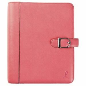 Pink Ribbon Snap tab 1 Inch Leather Planner Cover Desk Size Planner