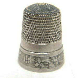 Antique Sterling Silver Simons Bros Flower Chain Thimble Size 10