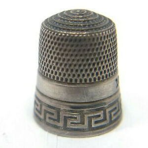 Antique Sterling Silver Simons Bros Greek Key Thimble Size 10