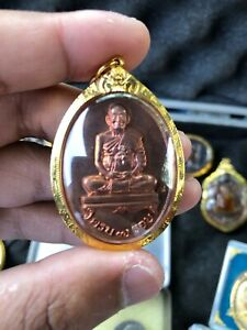 Lucky Thai Buddha Amulet Pendant 18k Solid Gold Case