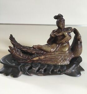 Vintage Chinese Carved Stone Quan Yin Phoenix Statue Figure Wood Base Signed