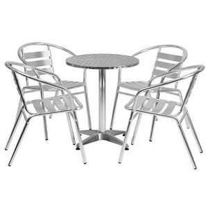 23 5 Round Aluminum Indoor outdoor Restaurant Table With 4 Slat Back Chairs