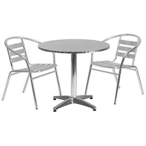 31 5 Round Aluminum Indoor outdoor Restaurant Table With 2 Slat Back Chairs