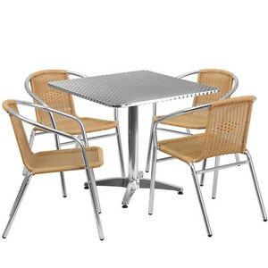 31 5 square Aluminum Indoor outdoor Restaurant Table With 4 Beige Rattan Chairs