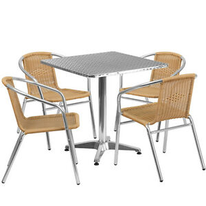 27 5 square Aluminum Indoor outdoor Restaurant Table With 4 Beige Rattan Chairs
